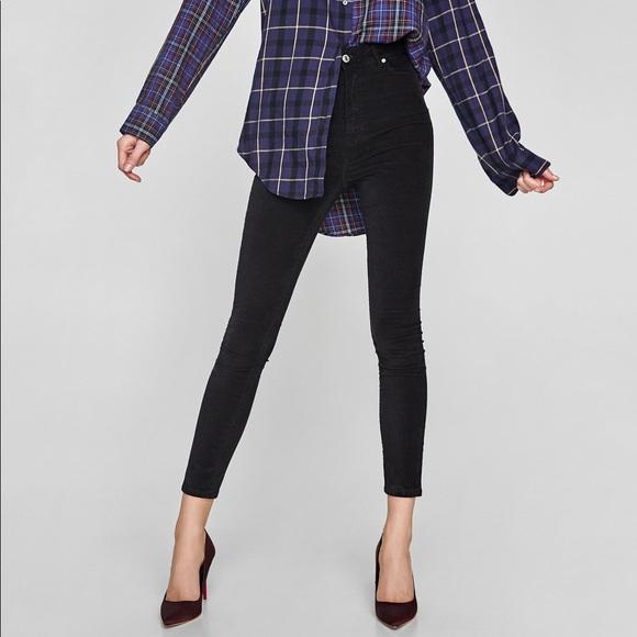 f7753fa6 Zara Black Velvet High Waisted Skinny Ankle Jeans NWT